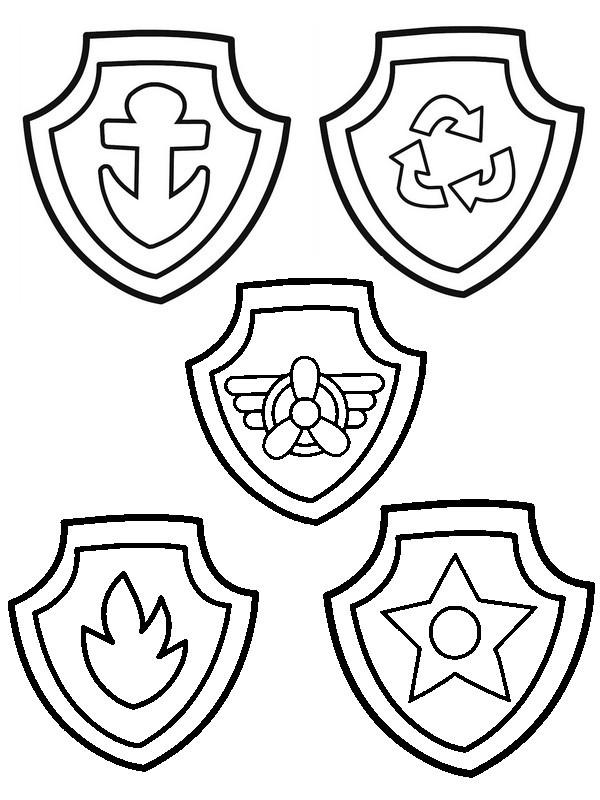 Coloriage et dessins gratuits Pat Patrouille et leurs médailles à imprimer