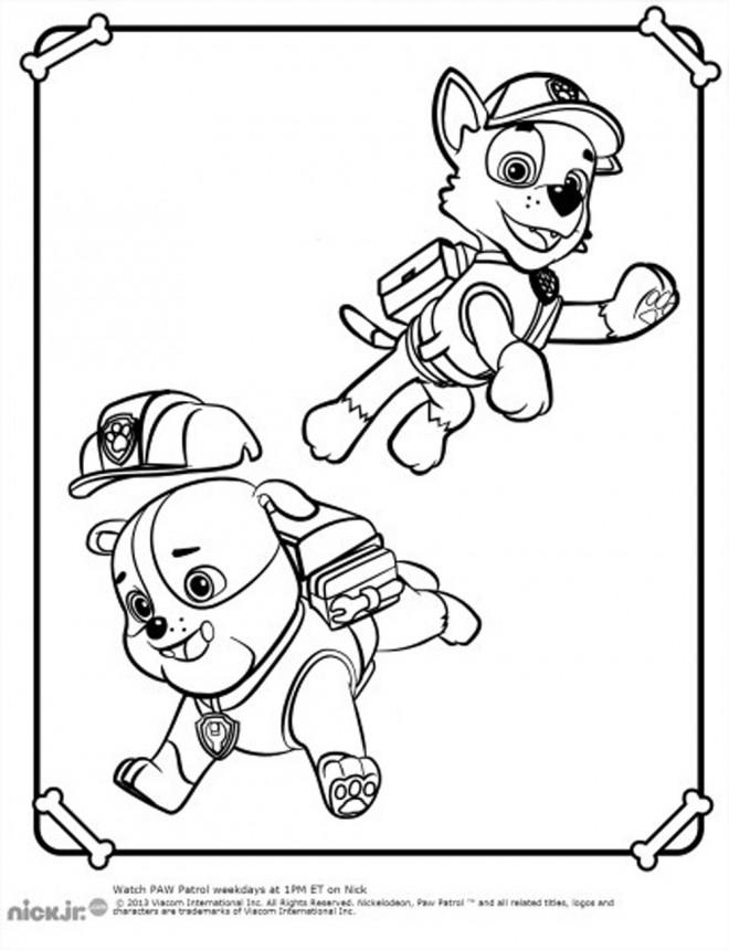 Coloriage et dessins gratuits Pat Patrouille Ruben et Rocky à imprimer