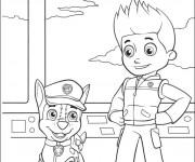 Coloriage et dessins gratuit Pat Patrouille Ryder et Chase à imprimer