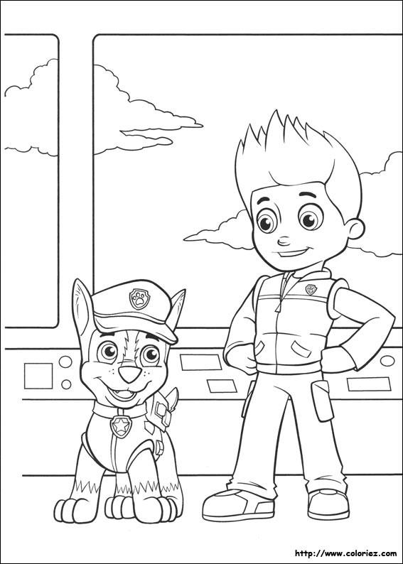 Coloriage et dessins gratuits Pat Patrouille Ryder et Chase à imprimer