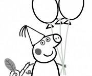 Coloriage Peppa Pig Anniversaire Dessin Gratuit à Imprimer