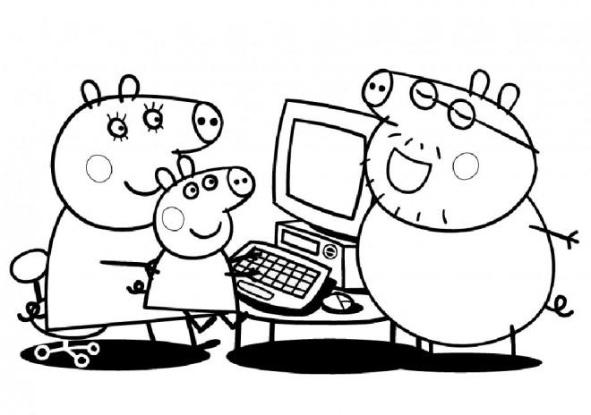 Coloriage et dessins gratuits Peppa Pig en Famille à imprimer