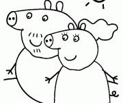 Coloriage et dessins gratuit Peppa Pig en plein air à imprimer