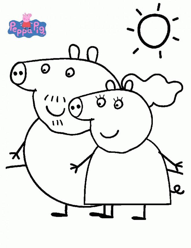 Coloriage et dessins gratuits Peppa Pig en plein air à imprimer