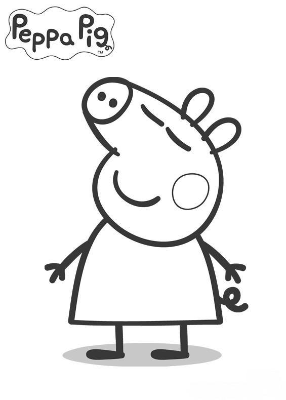 Coloriage et dessins gratuits Peppa Pig heureux à imprimer