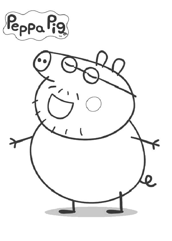 Coloriage et dessins gratuits Peppa Pig humoristique à imprimer