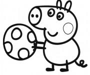 Coloriage Peppa Pig joue au Ballon