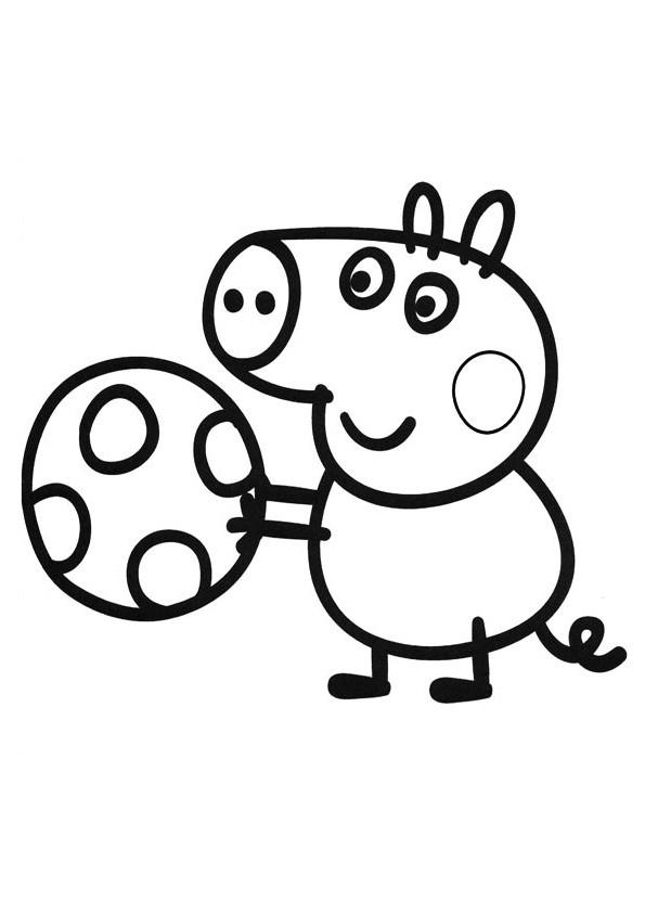 Coloriage Peppa Pig Joue Au Ballon Dessin Gratuit A Imprimer