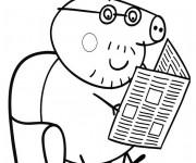 Coloriage et dessins gratuit Peppa Pig lis le journal à imprimer