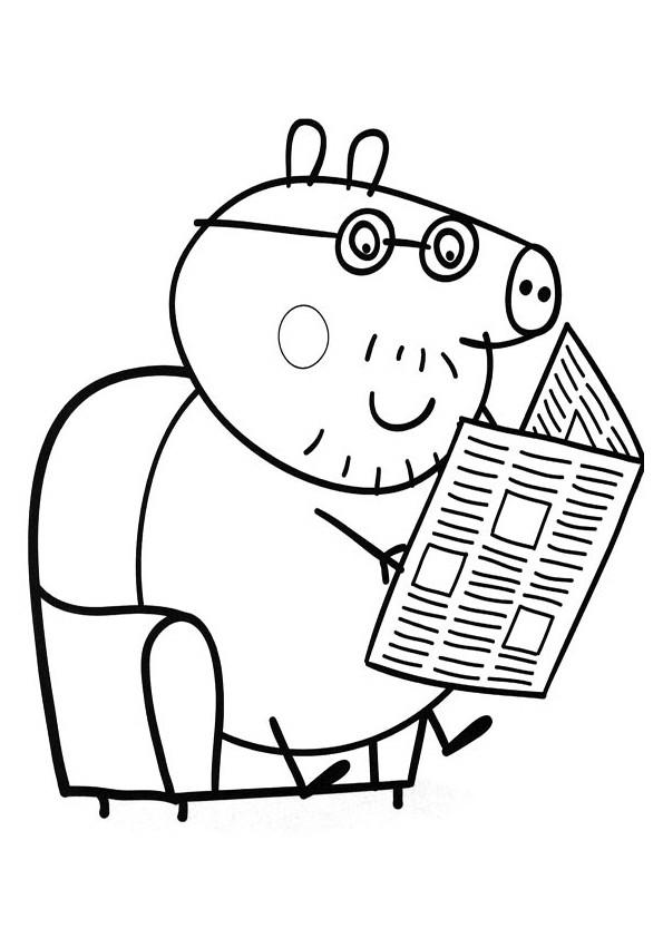 Coloriage et dessins gratuits Peppa Pig lis le journal à imprimer