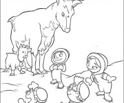 Coloriage et dessins gratuit Les enfants découvreurs et le deer à imprimer