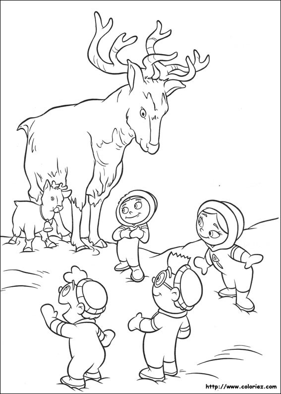 Coloriage et dessins gratuits Les enfants découvreurs et le deer à imprimer