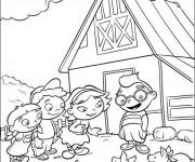 Coloriage et dessins gratuit Petit Einstein devant leur maison à imprimer