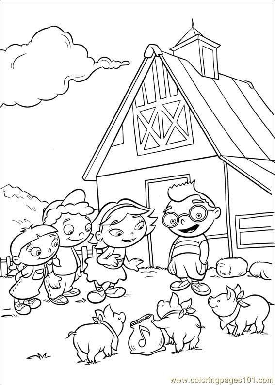 Coloriage et dessins gratuits Petit Einstein devant leur maison à imprimer