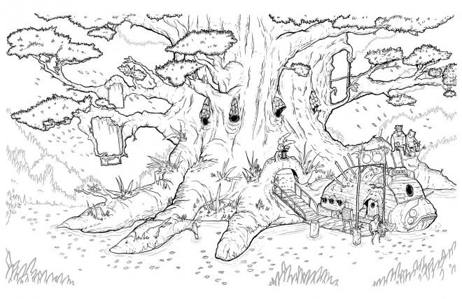 Coloriage et dessins gratuits Petit Einstein et l'arbre géante dessin à imprimer