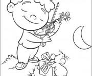 Coloriage et dessins gratuit Petit Einstein joue au violon à imprimer