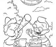 Coloriage Petit Einstein préparent un gâteau en ligne