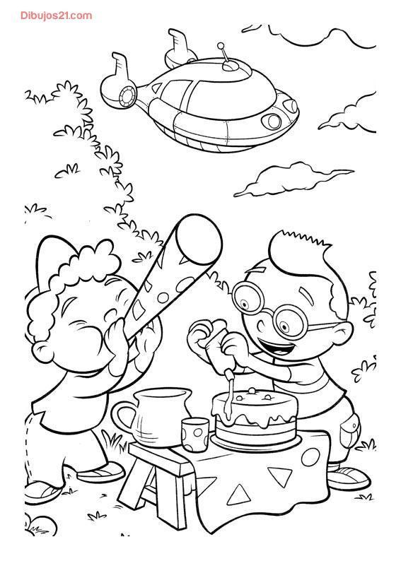 Coloriage et dessins gratuits Petit Einstein préparent un gâteau en ligne à imprimer