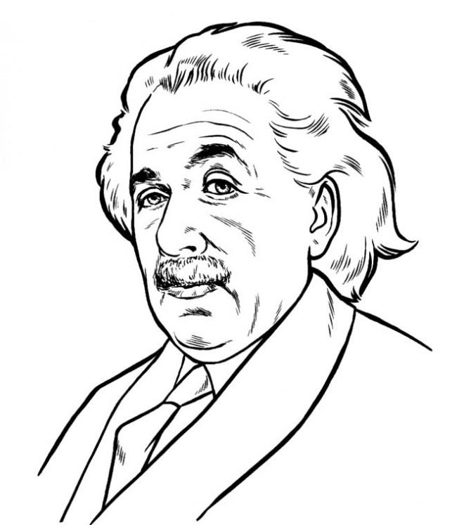 Coloriage et dessins gratuits Portrait ALbert Einstein en ligne à imprimer