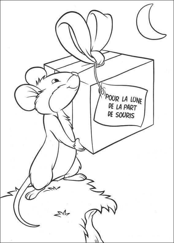 Coloriage souris porte un cadeau pour la lune dessin - Dessin petite souris ...