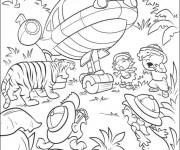 Coloriage et dessins gratuit Un tiger qui fait peur aux petits découvreurs à imprimer