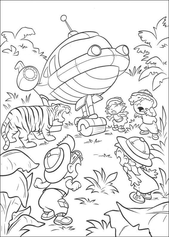 Coloriage et dessins gratuits Un tiger qui fait peur aux petits découvreurs à imprimer