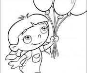 Coloriage et dessins gratuit Une fille porte des ballons à imprimer