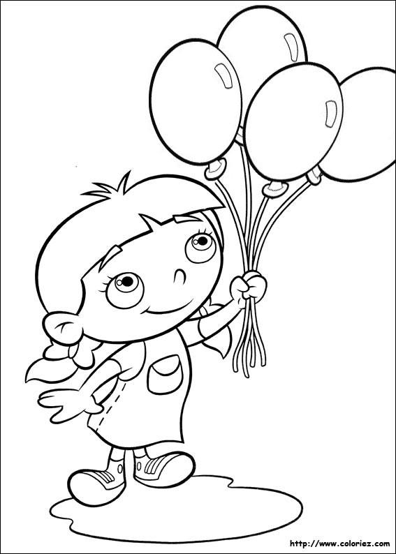 Coloriage et dessins gratuits Une fille porte des ballons à imprimer