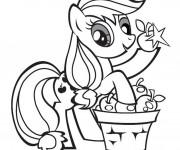 Coloriage et dessins gratuit Applejack récolte des pommes à imprimer