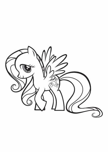 Coloriage Fluttershy dans My little Poney dessin gratuit à imprimer