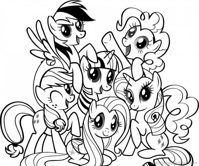 Coloriage la famille de mon petit poney ensemble - Dessin anime avec des poneys ...