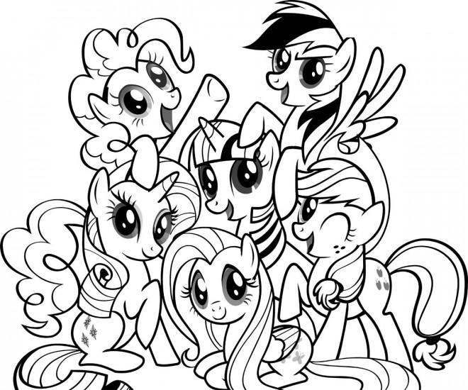 Coloriage la famille des poneys dessin gratuit imprimer - Coloriage petit poney ...