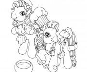 Coloriage Les petits poneys cuisinent