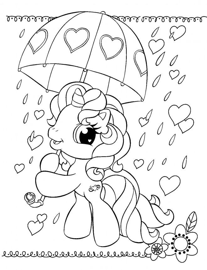 Coloriage mon petit poney avec une parapluie dessin gratuit imprimer - Dessin anime avec des poneys ...