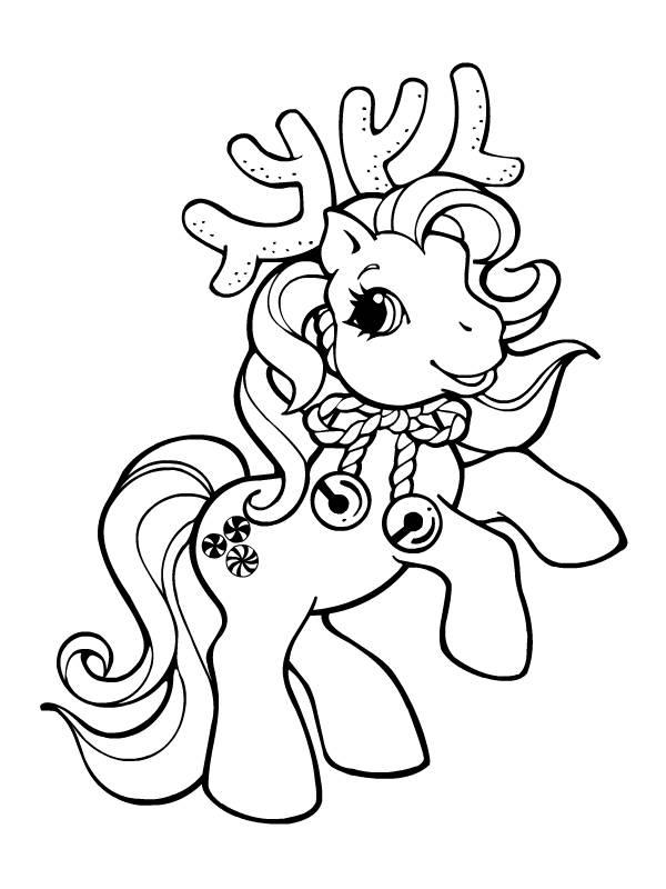 Coloriage mon petit poney en renne de no l dessin gratuit imprimer - Dessin anime avec des poneys ...