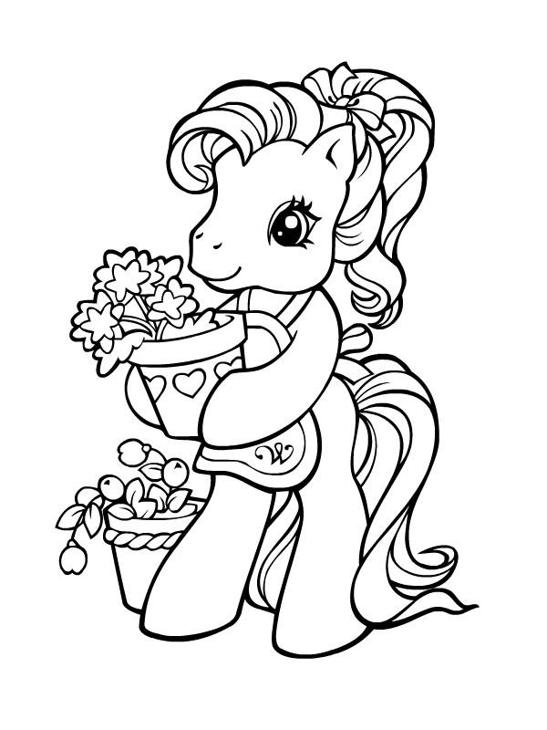 Coloriage mon petit poney fait du jardinage dessin gratuit - Petit poney coloriage ...