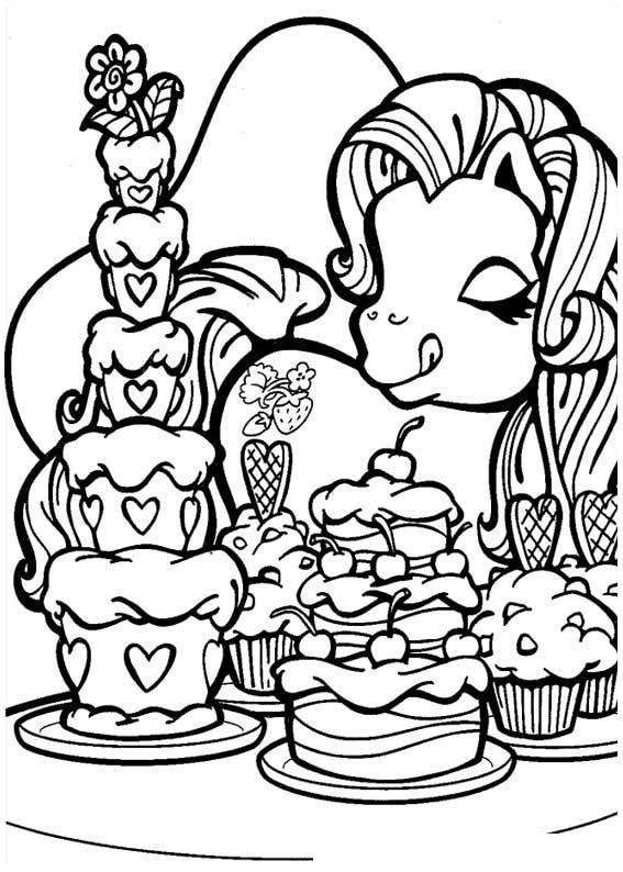 Coloriage et dessins gratuits Mon petit poney mange des cakes à imprimer
