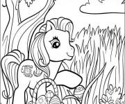 Coloriage et dessins gratuit Petit poney et Oeuf de Pâques à imprimer