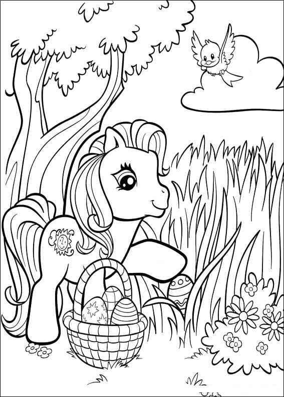 Coloriage et dessins gratuits Petit poney et Oeuf de Pâques à imprimer