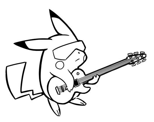 coloriage pikachu guitariste dessin gratuit  u00e0 imprimer