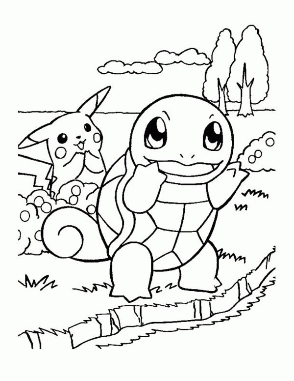Coloriage pikachu et carapuce dessin gratuit imprimer - Pikachu dessin anime ...