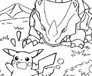 Coloriage et dessins gratuit Pikachu en fuite à imprimer