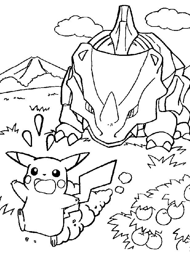 Coloriage et dessins gratuits Pikachu en fuite à imprimer