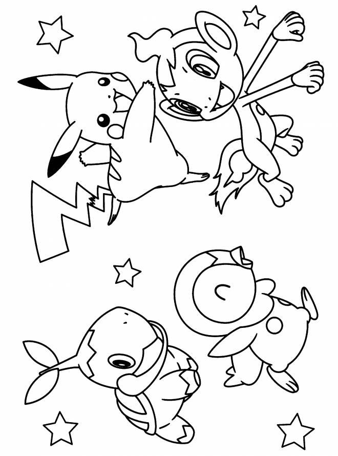 Coloriage pikachu et ses amis colorier dessin gratuit - Pikachu dessin anime ...