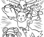 Coloriage Pikachu et ses amis attaquent