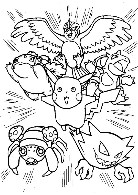 Coloriage et dessins gratuits Pikachu et ses amis attaquent à imprimer