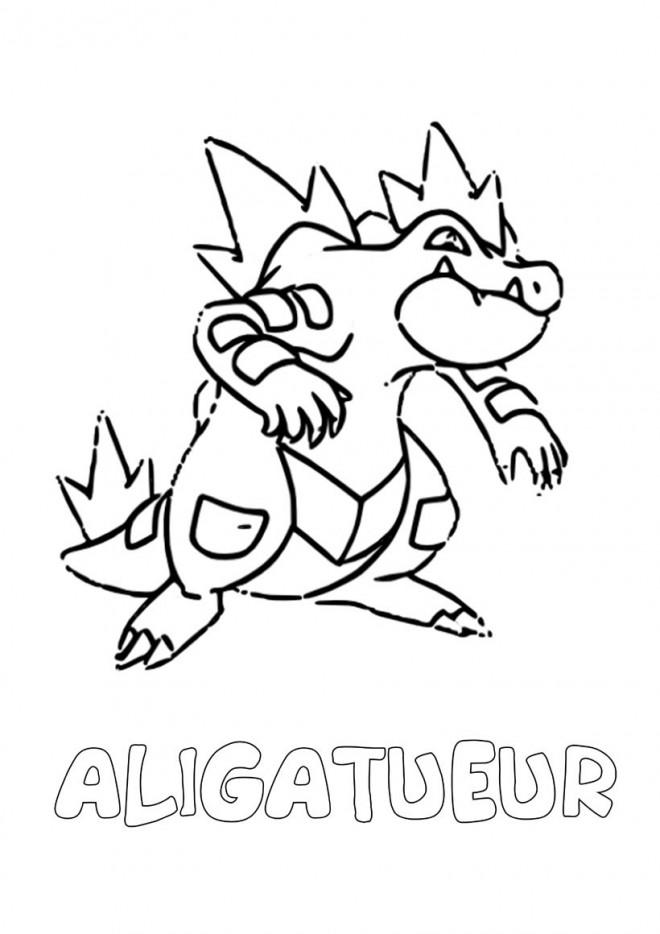 Coloriage Pokémon Aligatueur Facile Dessin Gratuit à Imprimer