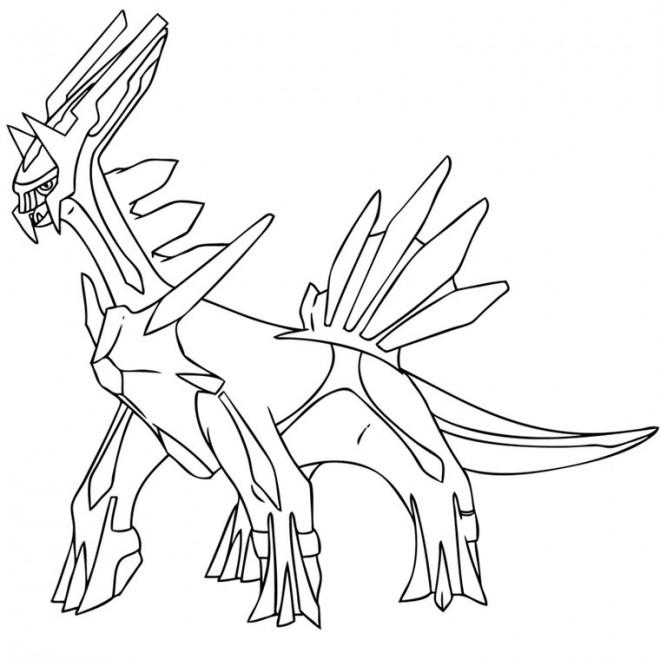 Coloriage et dessins gratuits Pokémon Dialga prêt au combat à imprimer