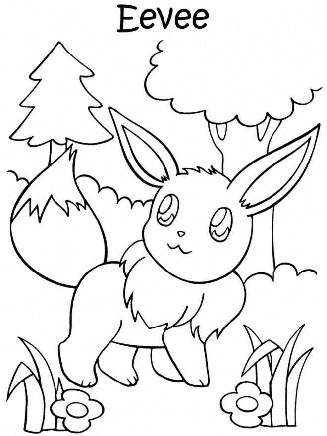 Coloriage et dessins gratuits Pokémon Eevee à imprimer