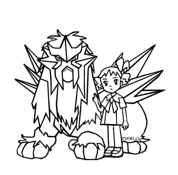 Coloriage et dessins gratuits Pokémon et fille à imprimer